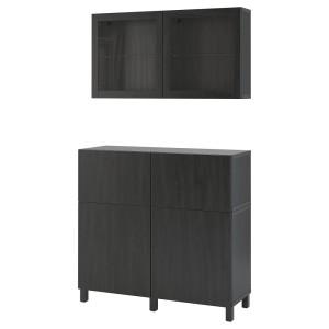 БЕСТО Комб для хран с дверц/ящ, черно-коричневый, Лаппвик/стуббарп черно-коричневый прозрачное стекло
