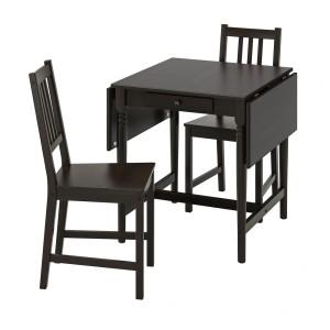 ИНГАТОРП / СТЕФАН Стол и 2 стула, черно-коричневый, коричнево-чёрный