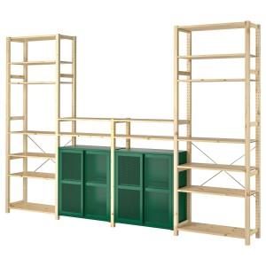 ИВАР 4 секции/полки/шкаф, сосна, зеленый сетка