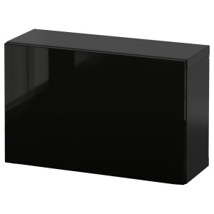 БЕСТО Комбинация настенных шкафов, черно-коричневый, Сельсвикен глянцевый/черный