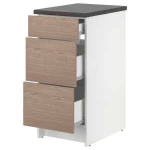 КНОКСХУЛЬТ Напольный шкаф с ящиками, под дерево, серый