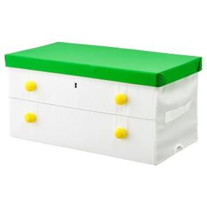 ФЛЮТТБАР Коробка с крышкой, зеленый, белый