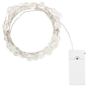 СНЁЙРА Гирлянда, 40 светодиодов, для помещений, с батарейным питанием серебристый