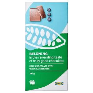BELÖNING Молочный шоколад, черника Сертификат UTZ, 0.1кг