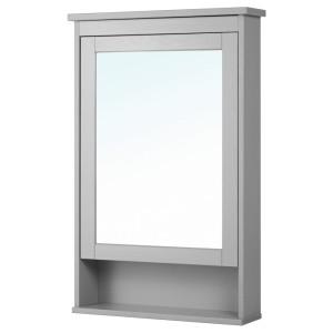 ХЕМНЭС Зеркальный шкаф с 1 дверцей, серый