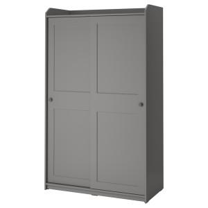 ХАУГА Гардероб с раздвижными дверями, серый