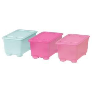 ГЛИС Контейнер с крышкой, розовый, бирюзовый, 3шт