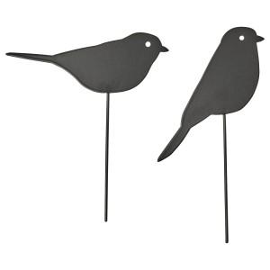 БЛОМСТЕРБОНА Украшение на палочке, 2 шт., д/дома/улицы, птица черный