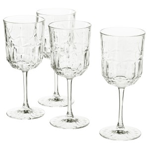 СЭЛЛЬСКАПЛИГ Бокал для вина, прозрачное стекло, с рисунком, 4шт