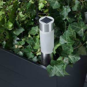 СОЛВИДЕН Светильник на солнечной батарее, цилиндр, цвет алюминия