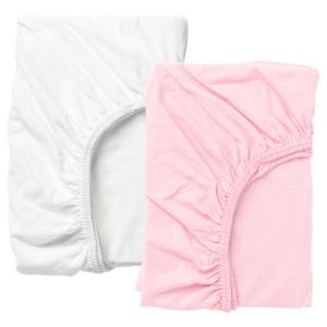 ЛЕН Простыня натяжн для кроватки, белый, розовый, 2шт