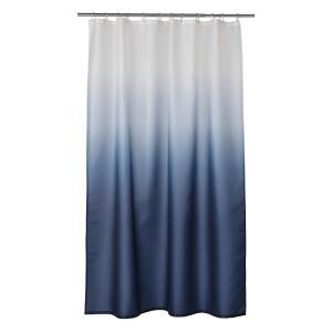 НЮККЕЛЬН Штора для ванной, белый, темно-синий