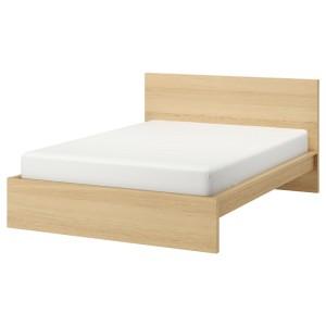 МАЛЬМ Каркас кровати, дубовый шпон, беленый