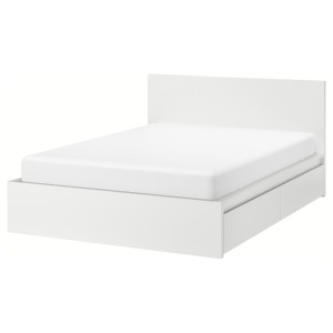 МАЛЬМ Каркас кровати+2 кроватных ящика, белый, Леирсунд