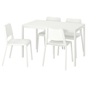МЕЛЬТОРП / ТЕОДОРЕС Стол и 4 стула, белый