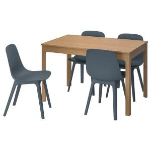 ЭКЕДАЛЕН / ОДГЕР Стол и 4 стула, дуб, синий