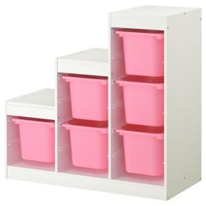 ТРУФАСТ Комбинация д/хранения, белый, розовый