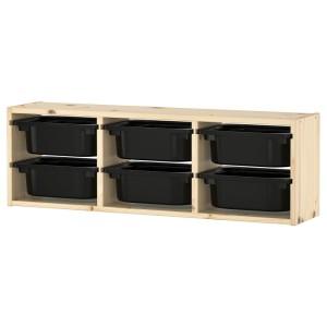 ТРУФАСТ Настенный модуль для хранения, светлая беленая сосна, черный