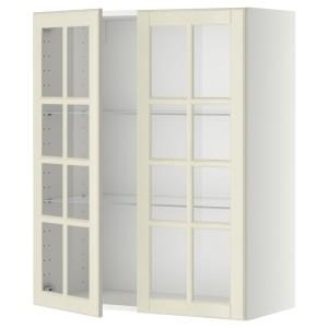 МЕТОД Навесной шкаф с полками/2 стекл дв, белый, Будбин белый с оттенком