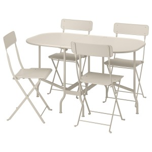 САЛЬТХОЛЬМЕН Стол+4 складных стула, д/сада, бежевый