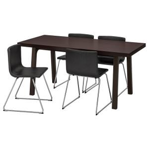 ВЭСТАНБИ/ВЭСТАНО / БЕРНГАРД Стол и 4 стула, темно-коричневый, Кават темно-коричневый