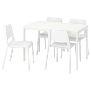 ВАНГСТА / ТЕОДОРЕС Стол и 4 стула, белый, белый