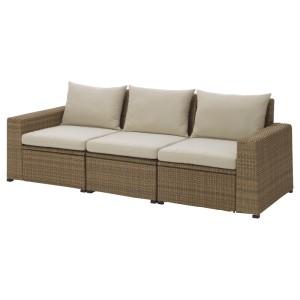 СОЛЛЕРОН 3-местный модульный диван, садовый, коричневый, Холло бежевый