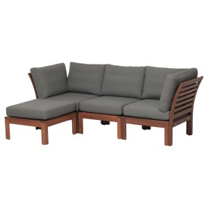 ЭПЛАРО 3-местный модульный диван, садовый, с табуретом для ног коричневая морилка коричневая морилка, ФРЁСЁН/ДУВХОЛЬМЕН темно-серый