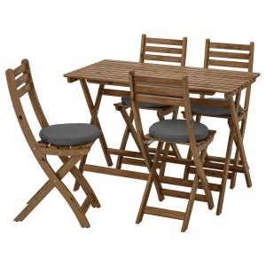 АСКХОЛЬМЕН Стол+4 складных стула, д/сада