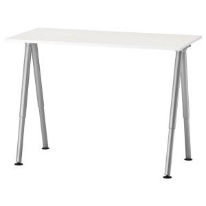 ТИГЕ Письменный стол, белый, серебристый