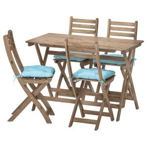 АСКХОЛЬМЕН Стол+4 складных стула, д/сада, серо-коричневая морилка, Куддарна синий голубой