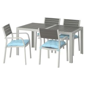 ШЭЛЛАНД Стол+4 кресла, д/сада, темно-серый, Куддарна синий голубой
