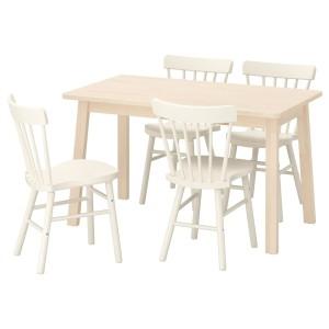 НОРРОКЕР / НОРРАРИД Стол и 4 стула, береза белый
