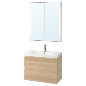 ГОДМОРГОН / ОДЕНСВИК Комплект мебели для ванной,4 предм., под беленый дуб, ДАЛЬШЕР смеситель
