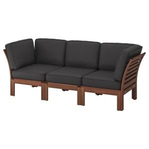 ЭПЛАРО 3-местный модульный диван, садовый, коричневая морилка, ЙЭРПОН/дувхольмен антрацит