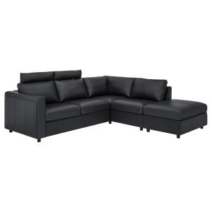 ВИМЛЕ 4-местный угловой диван, с открытым торцом с подголовниками, Гранн/Бумстад черный