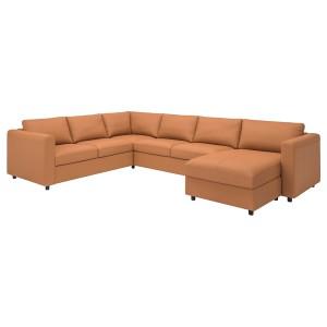 ВИМЛЕ 5-местный угловой диван, с козеткой, Гранн/Бумстад золотисто-коричневый