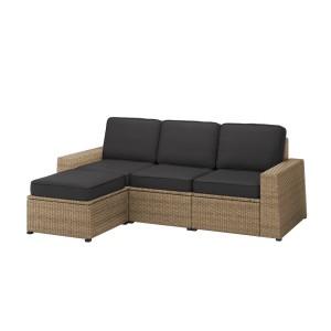 СОЛЛЕРОН 3-местный модульный диван, садовый, с табуретом для ног коричневый, ЙЭРПОН/дувхольмен антрацит
