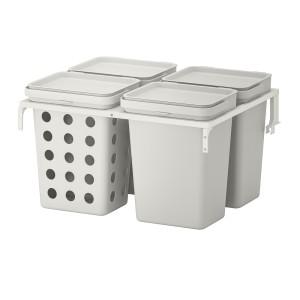ХОЛЛБАР Решение для сортировки мусора, для кухонных ящиков МЕТОД вентилируемый, светло-серый