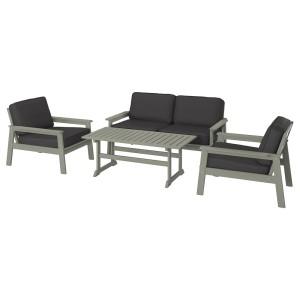 БОНДХОЛЬМЕН 4-местный комплект садовой мебели, серый морилка, ЙЭРПОН/дувхольмен антрацит