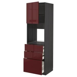 МЕТОД / МАКСИМЕРА Высокий шкаф д/духовки/дверь/3ящика, черный Калларп, глянцевый темный красно-коричневый