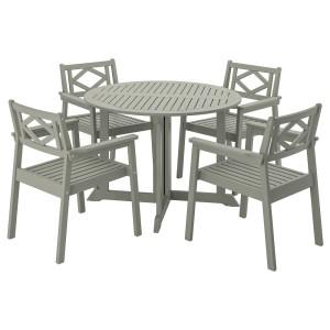 БОНДХОЛЬМЕН Стол+4 кресла, д/сада, серый морилка