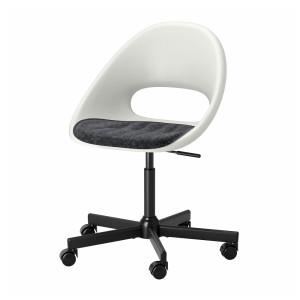 ЛОБЕРГЕТ / МАЛЬСКЭР Рабочее кресло c подушкой, белый черный, темно-серый
