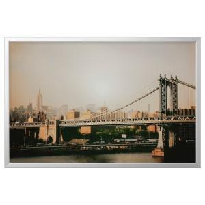 БЬЁРКСТА Картина с рамой, Манхэттенский мост, цвет алюминия