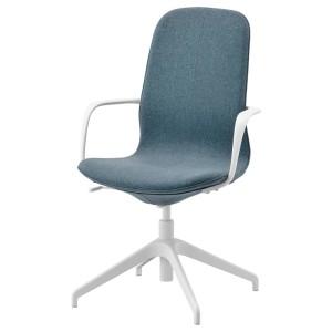 ЛОНГФЬЕЛЛЬ Рабочий стул с подлокотниками, Гуннаред синий, белый