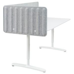 БЕКАНТ Стол с экраном, белый, серый