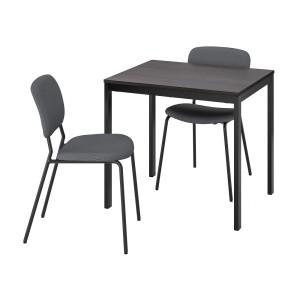 ВАНГСТА / КАРЛ-ЯН Стол и 2 стула, черный темно-коричневый, Кабуса темно-серый