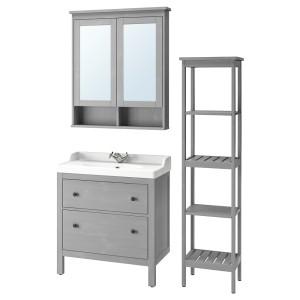 ХЕМНЭС / РЭТТВИКЕН Комплект мебели для ванной,5 предм., серый, РУНШЕР смеситель
