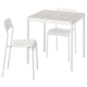 МЕЛЬТОРП / АДДЕ Стол и 2 стула, мозаичный орнамент белый, белый