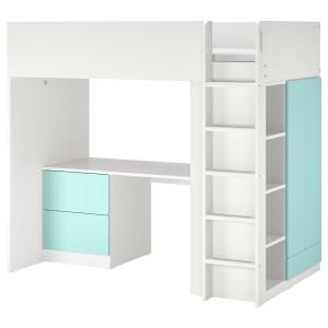 СМОСТАД Кровать-чердак, белый бледно-бирюзовый, с письменным столом с 3 ящиками